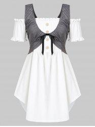 Plus Size Off Shoulder Tunic Top with Waistcoat Twinset -