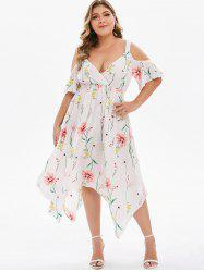 Plus Size Plunge Cold Shoulder Asymmetrical Dress -