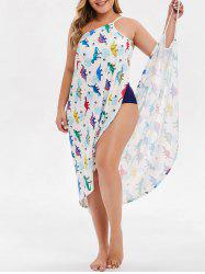 Plus Size Convertible Dinosaur Print Wrap Cover Up -