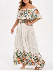 Plus Size Off Shoulder Ruffled Floral Maxi Dress -