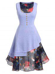 Plus Size Asymmetrical Top with Sheer Floral Dress Twinset -