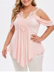 Plus Size Asymmetrical Lace Crochet Cold Shoulder T-shirt -