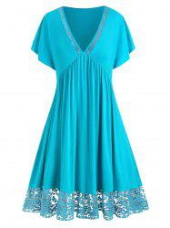 Plus Size Plunge Lace Panel Dress -