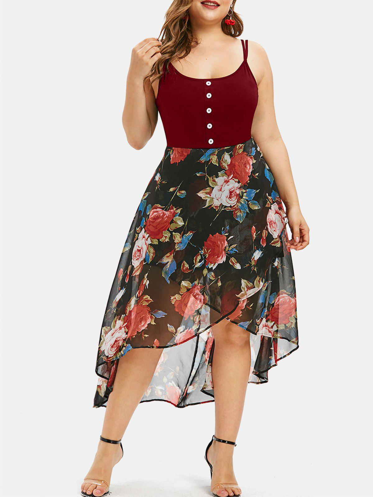 Shop Floral Overlay High Low Plus Size Dress