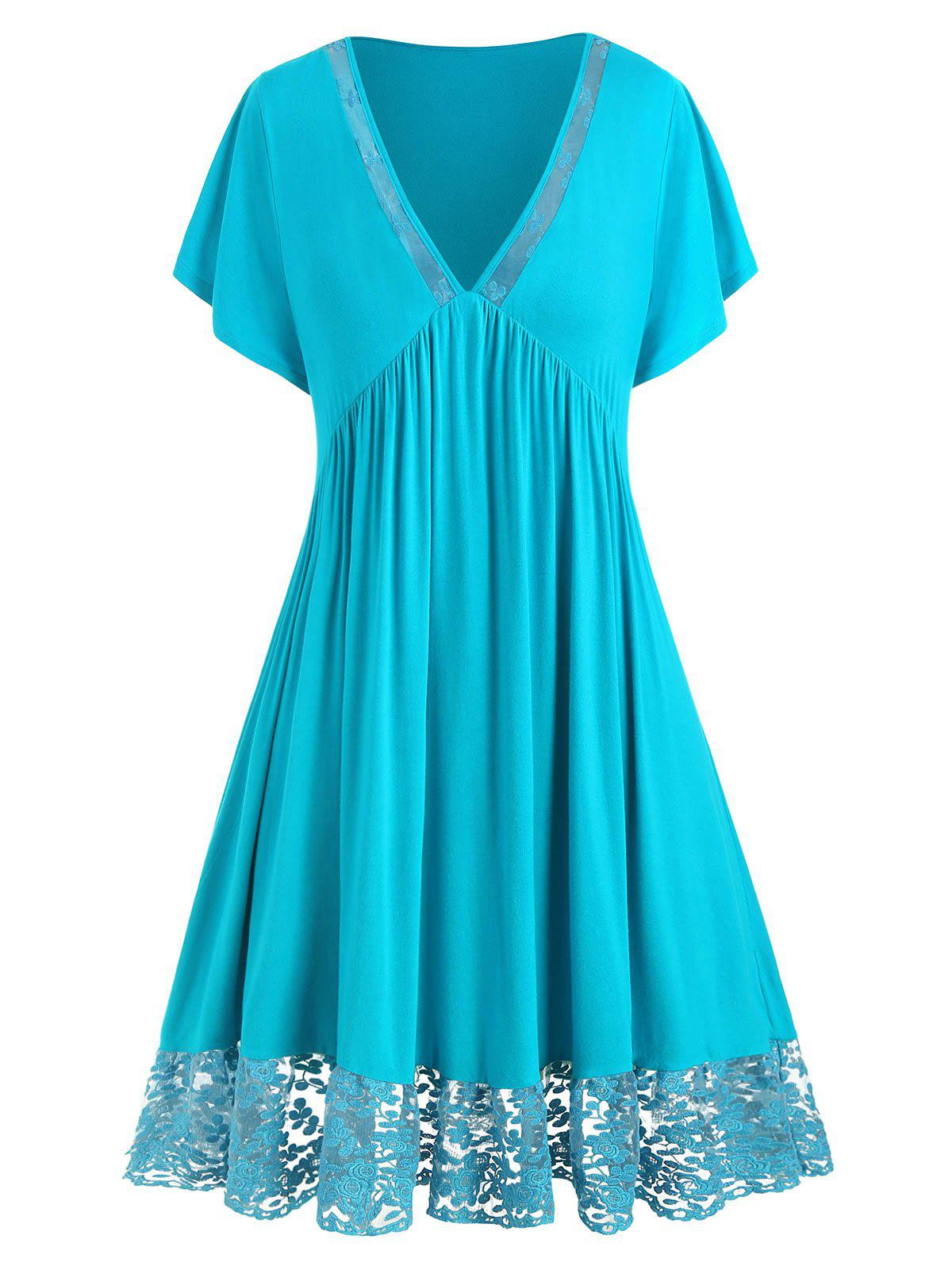 Cheap Plus Size Plunge Lace Panel Dress