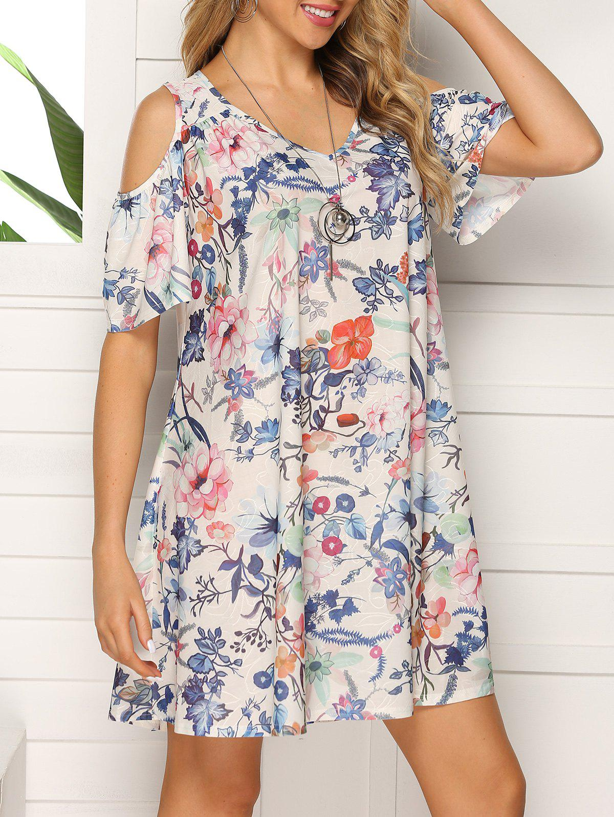 Fashion Floral V Neck Open Shoulder Dress
