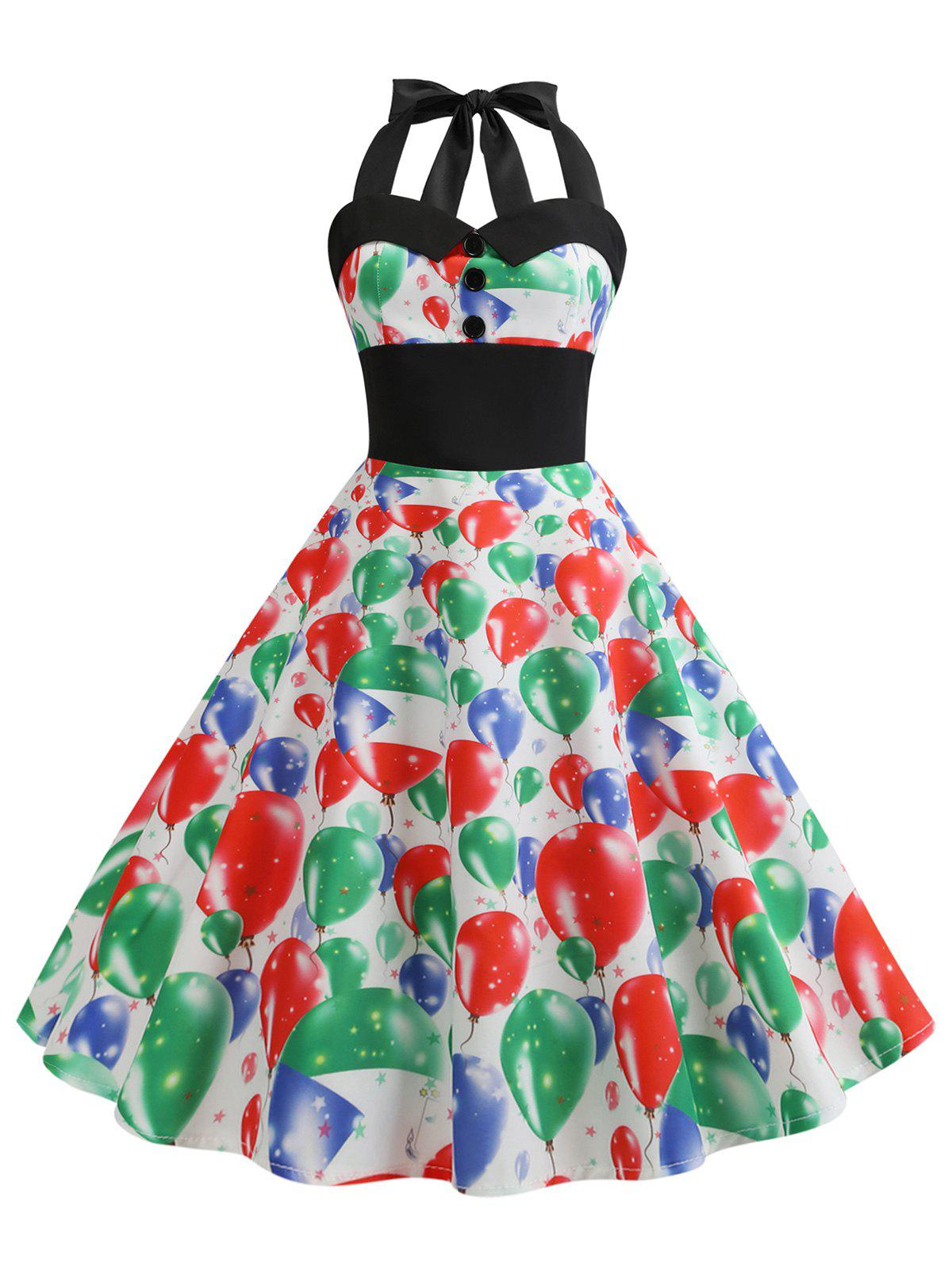 New Flag Print Shirred Halter Vintage Dress
