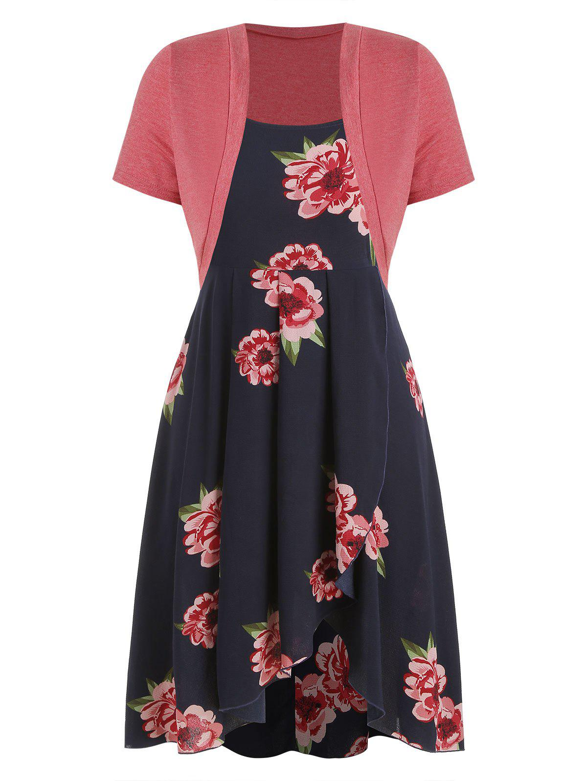 Sale Plus Size High Low Dress with Crop T Shirt
