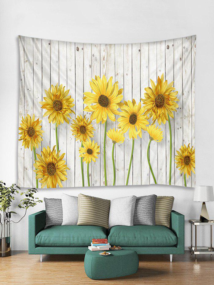 Unique Wood Sunflower 3D Print Wall Tapestry