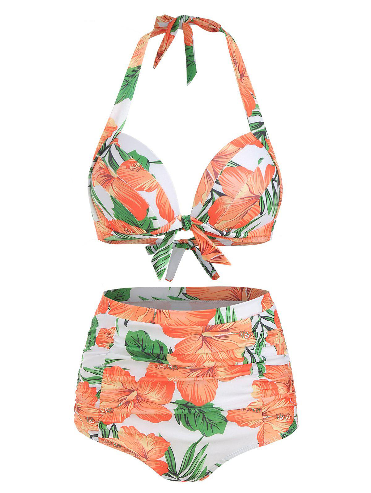 Ensemble de Bikini Fleur à Col Halter Orange Citrouille L