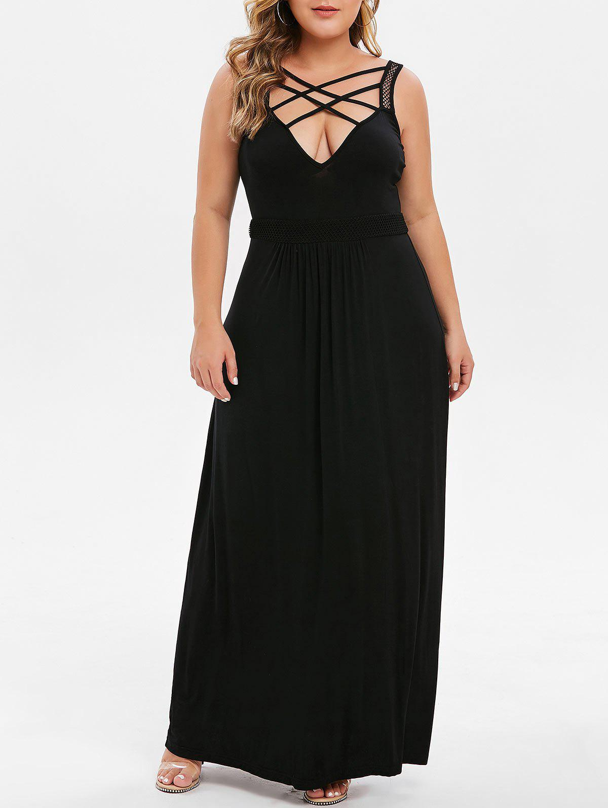 50% OFF] Plus Size Plunging Neckline Criss Cross Maxi Dress | Rosegal