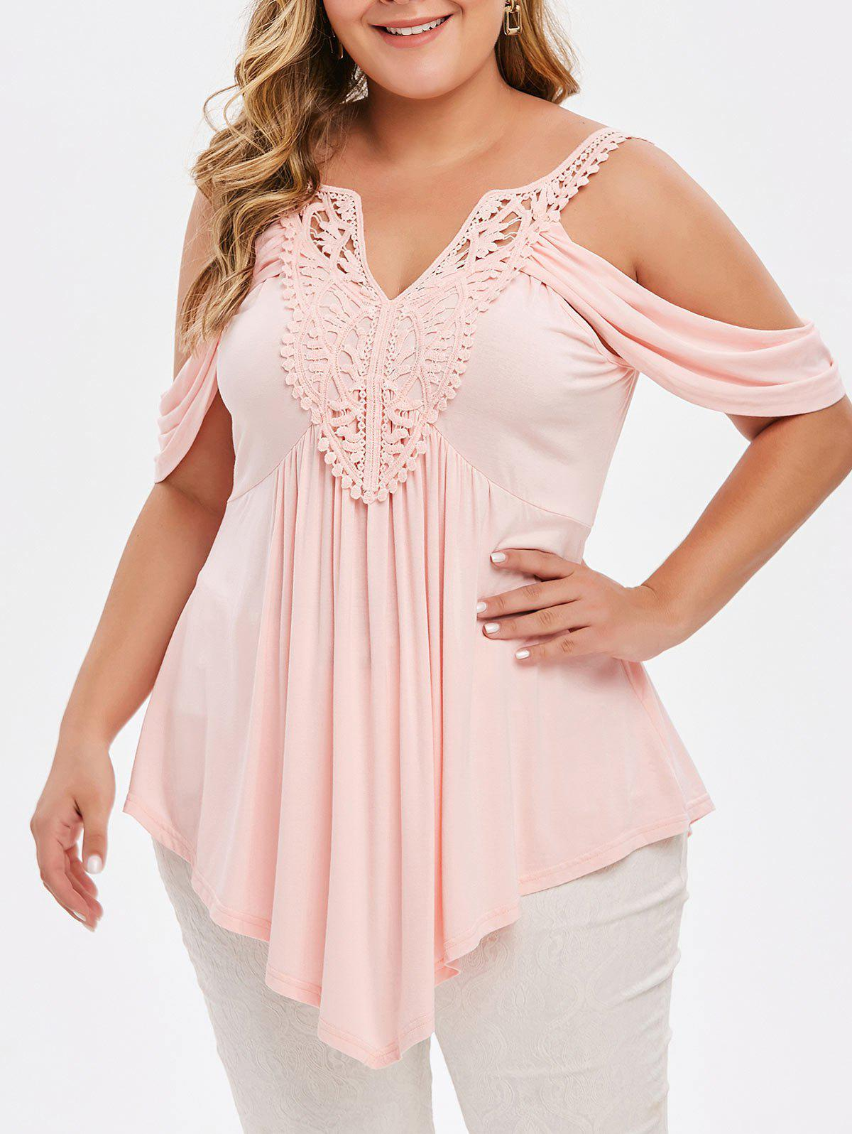 Hot Plus Size Asymmetrical Lace Crochet Cold Shoulder T-shirt