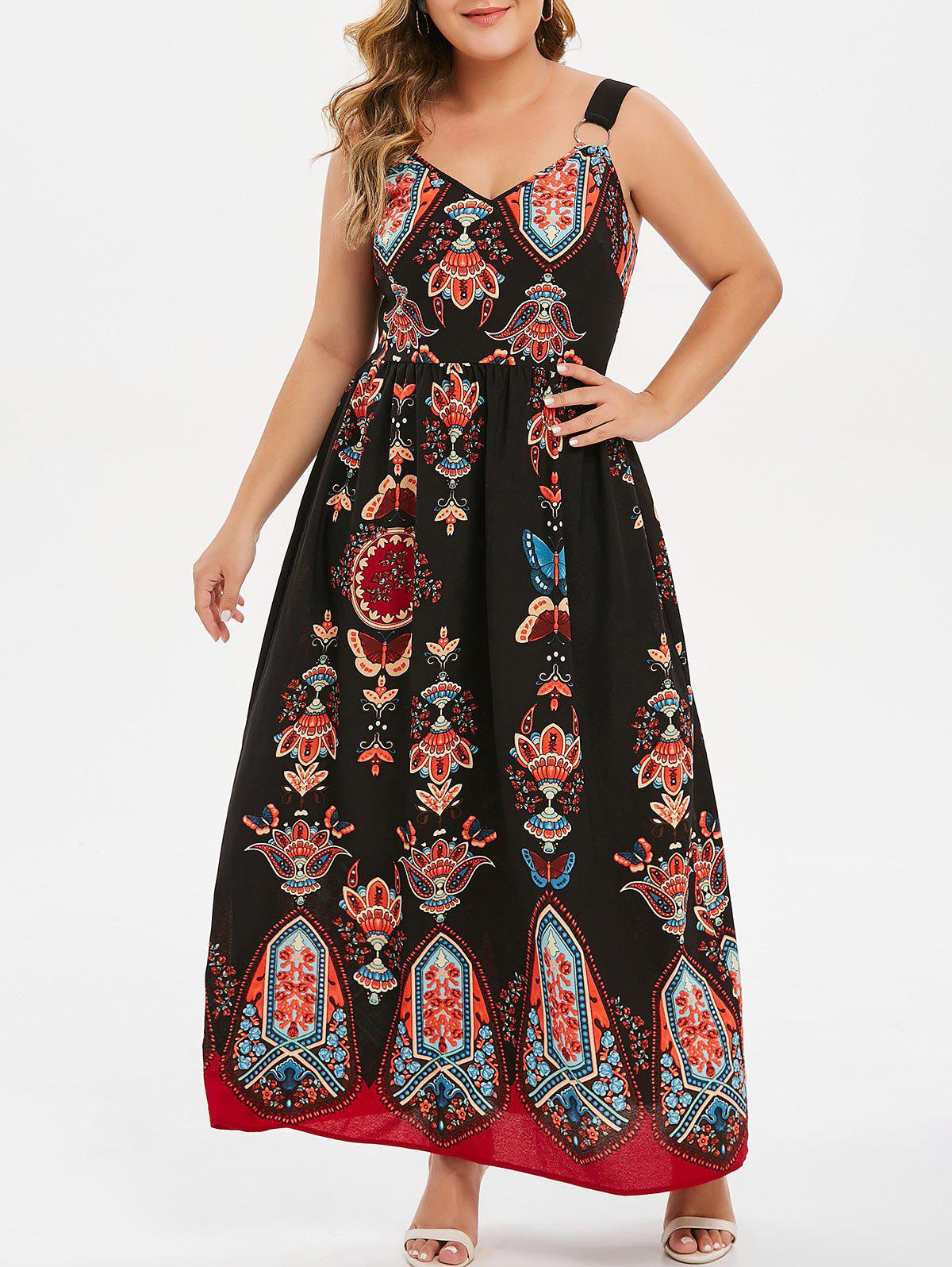 Sale Plus Size Graphic Ring Embellished Dress