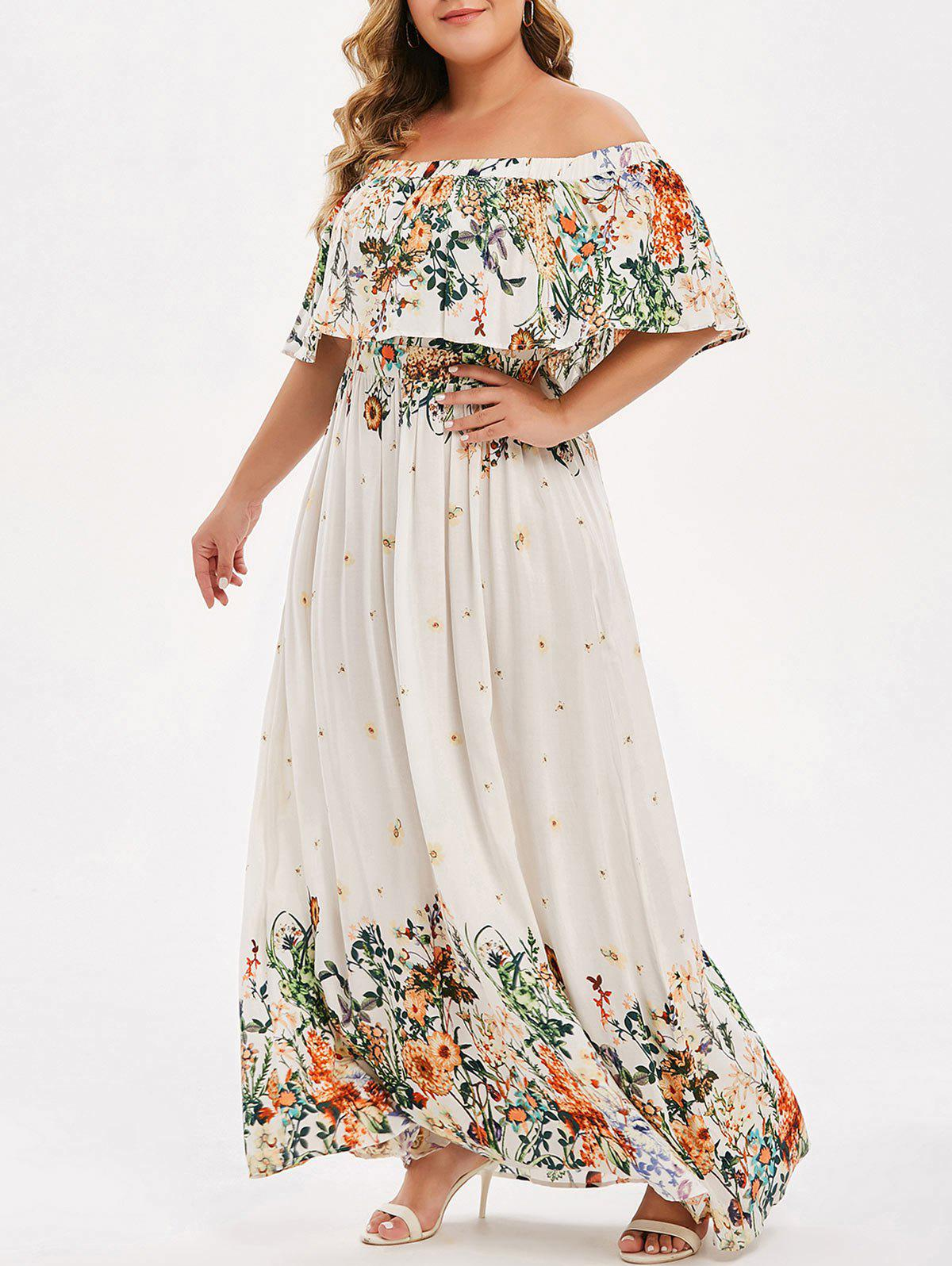 Latest Plus Size Off Shoulder Ruffled Floral Maxi Dress