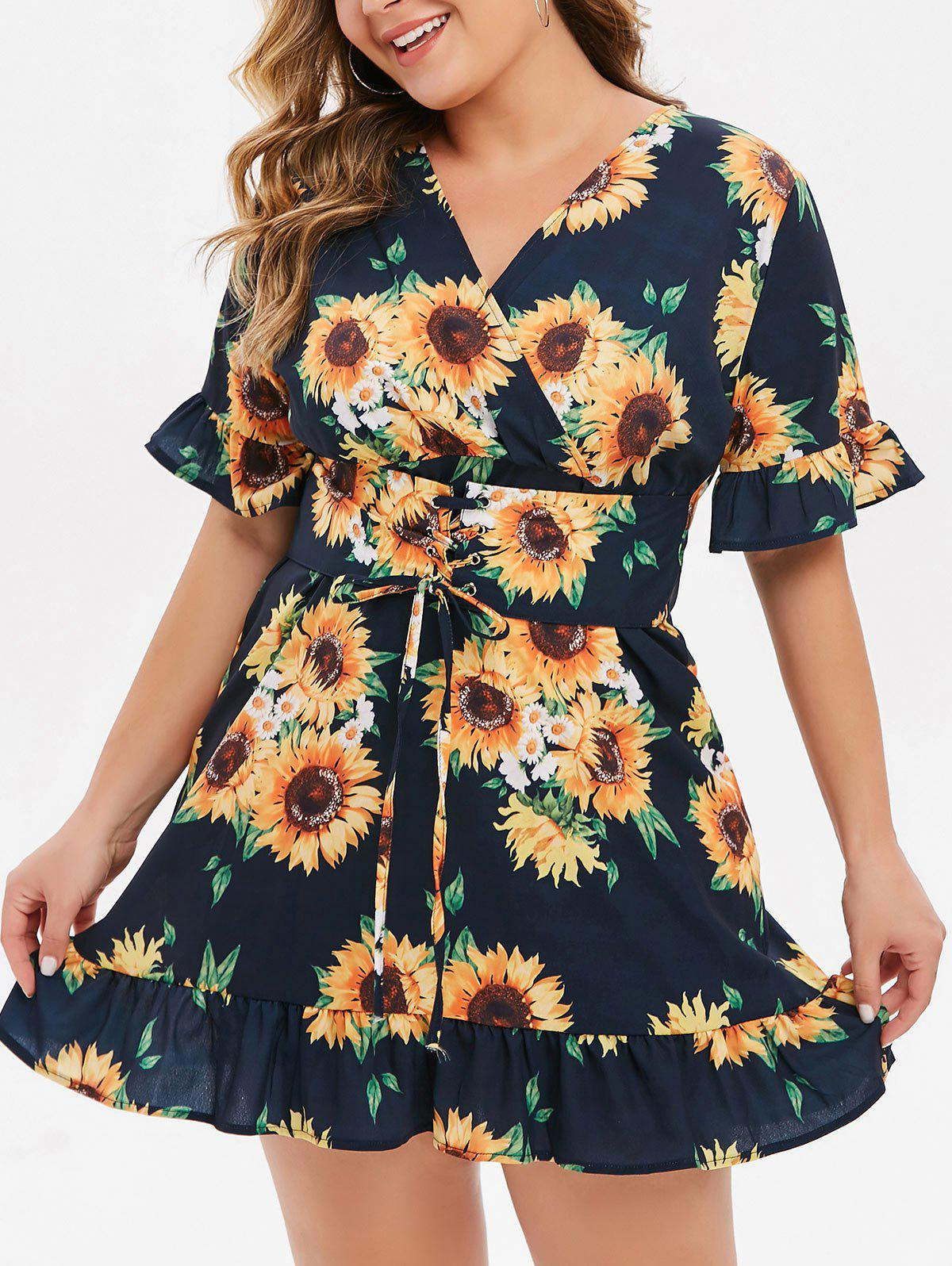 Sale Plus Size Sunflower Print Lace Up Mini Dress