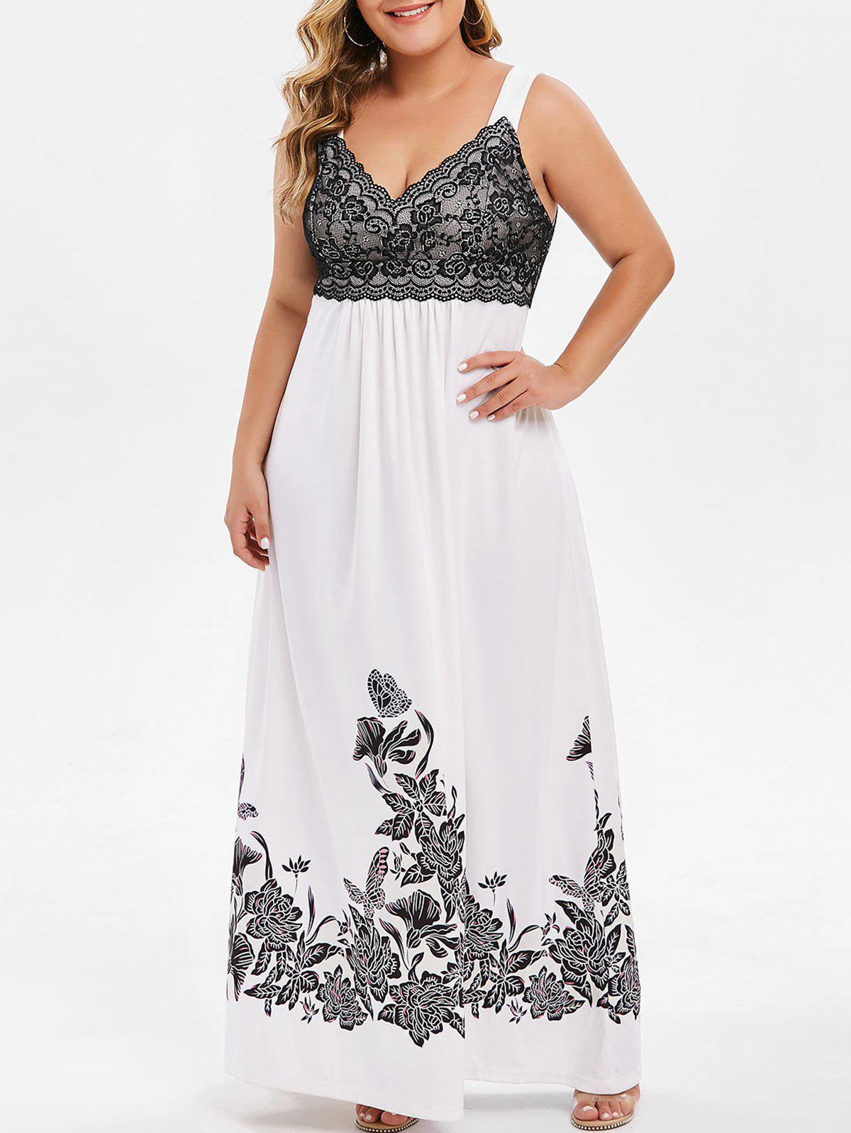 Plus Size Floral Lace Panel Maxi Dress Blanc L