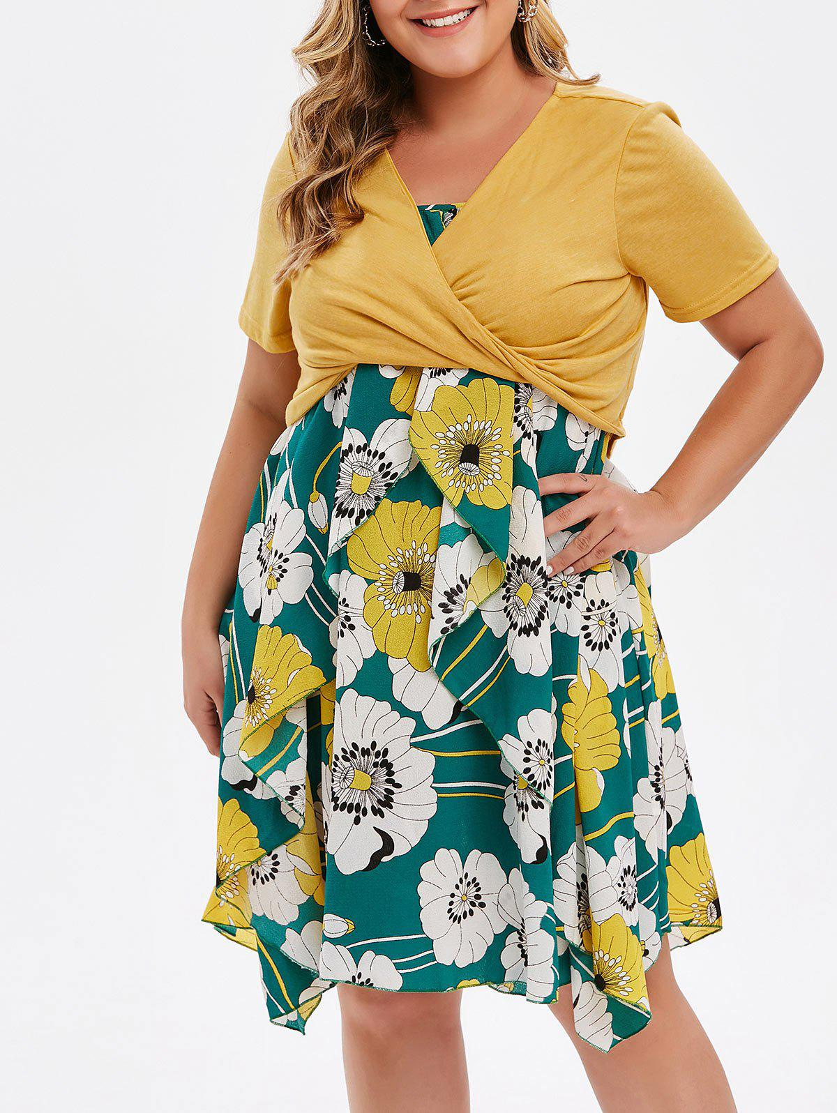 Outfits Plus Size Print Layered Midi Dress With Criss Cross Crop Top