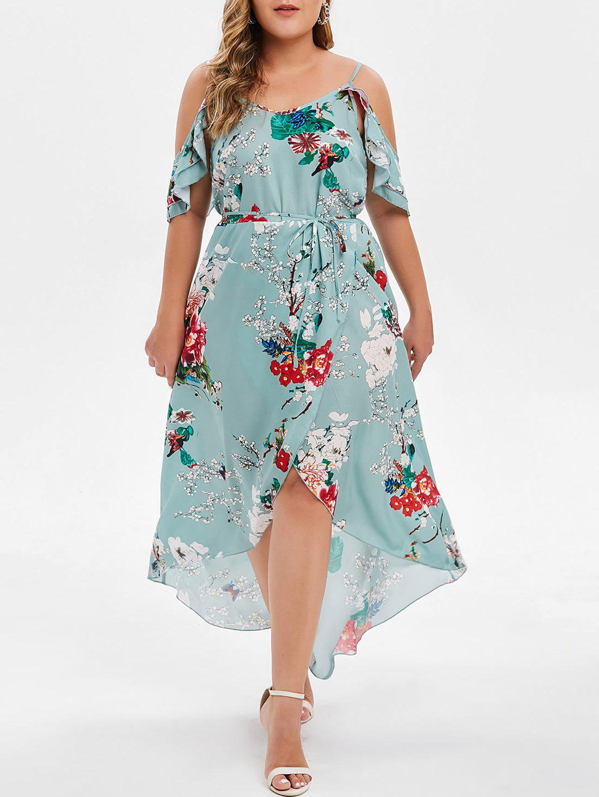 653e853434e 27% OFF  Plus Size High Low Maxi Floral Dress