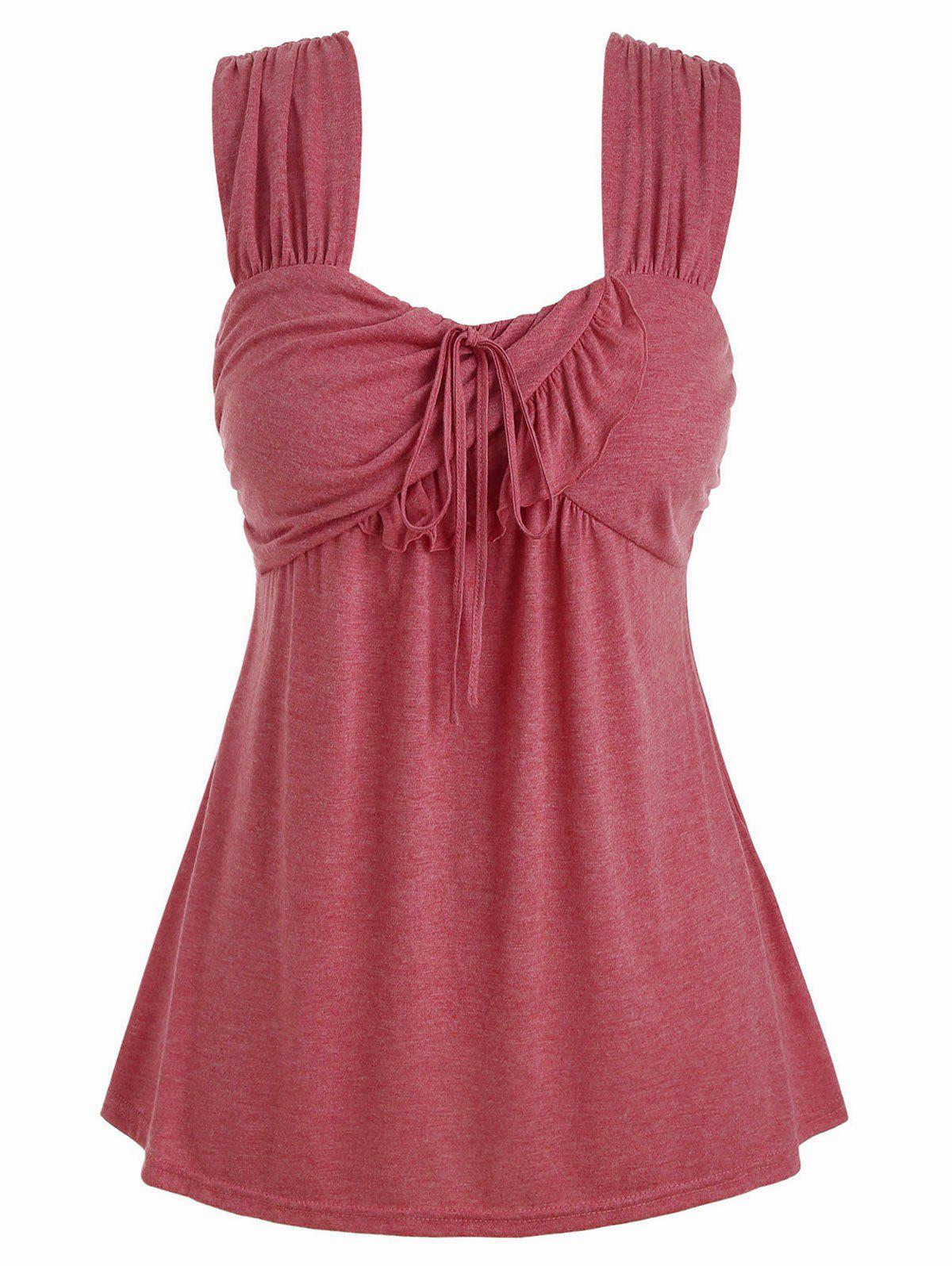 Latest Plus Size Tie Marled Ruffle Tank Top