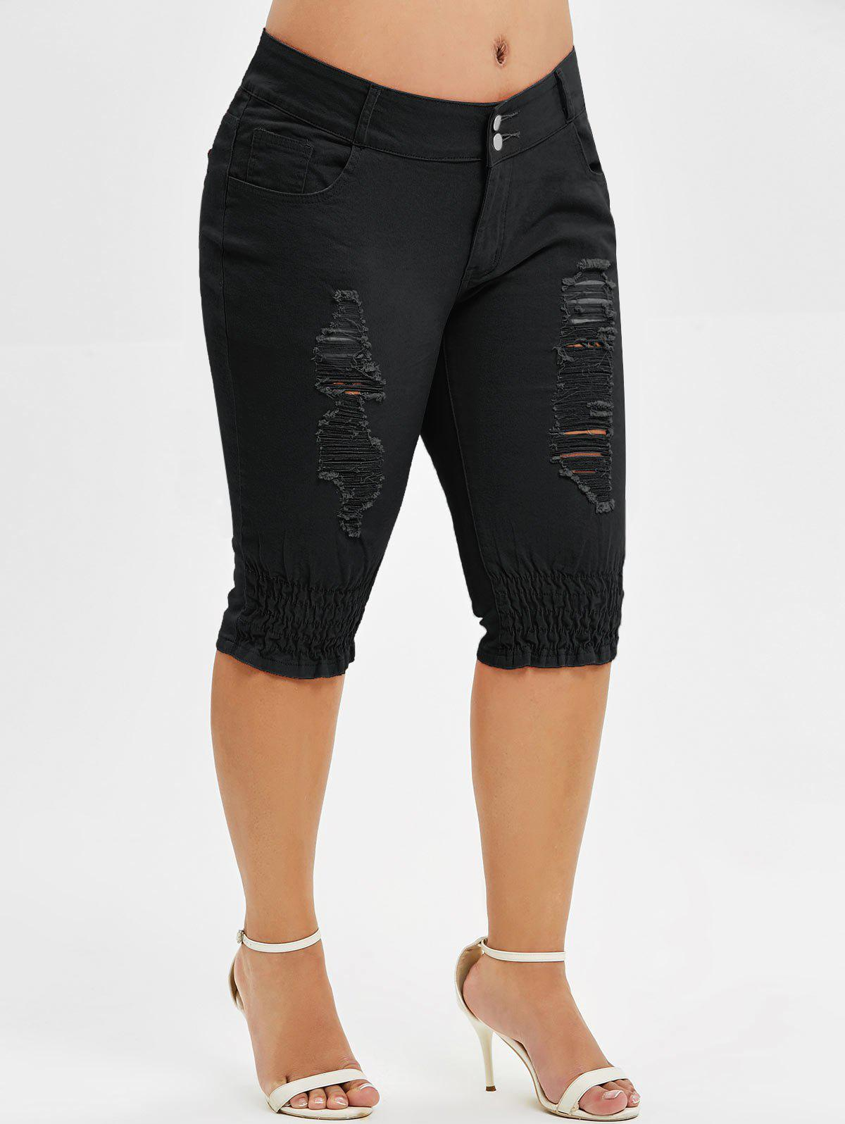 Cheap Plus Size Ripped Knee Length Jeans