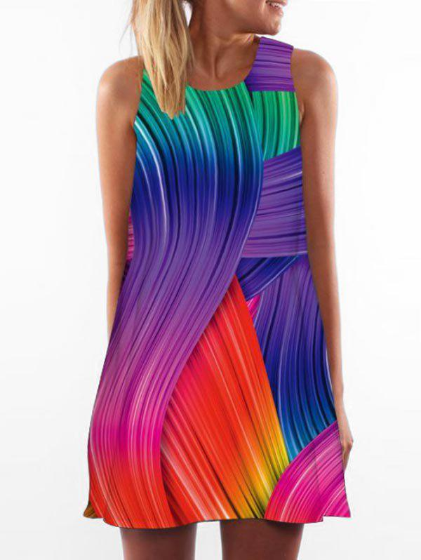 Shop Multicolor Printed Sleeveless Trapeze Dress