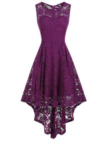 High Low Sleeveless Lace Dress