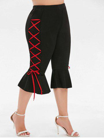 Plus Size Cropped Lace-up Flare Leggings