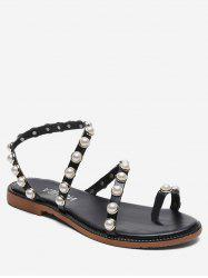 Beaded Strap Slip On Sandals -