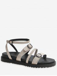 Braided Buckle Strap Flat Sandals -