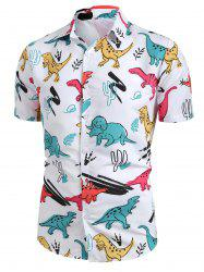 Cartoon Dinosaur Print Button Up Shirt -