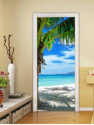 Beach Palm Tree Print Door Art Stickers -