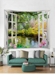 Window Landscape Print Art Decoration Wall Tapestry -
