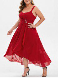 Plus Size Sweetheart Collar High Low Dress -