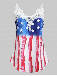 Plus Size American Flag Print Lace Insert Tank Top -
