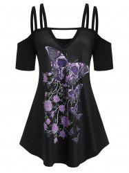 Plus Size Cold Shoulder Butterfly Print T-shirt -