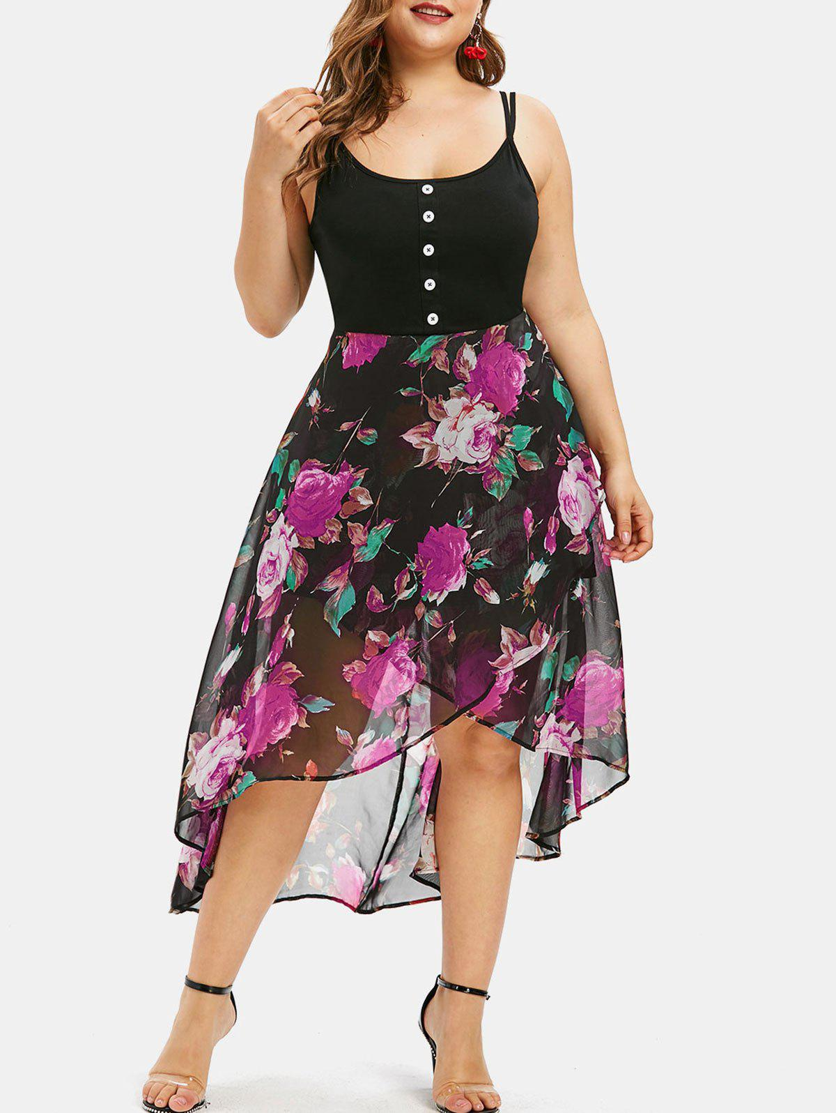Fancy Floral Overlay High Low Plus Size Dress