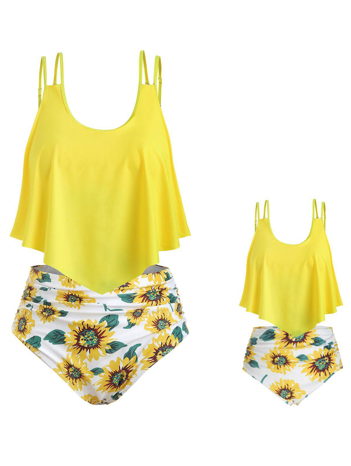 123beaa2859 44% OFF] Flounces Sunflower Print Family Plus Size Tankini Set | Rosegal