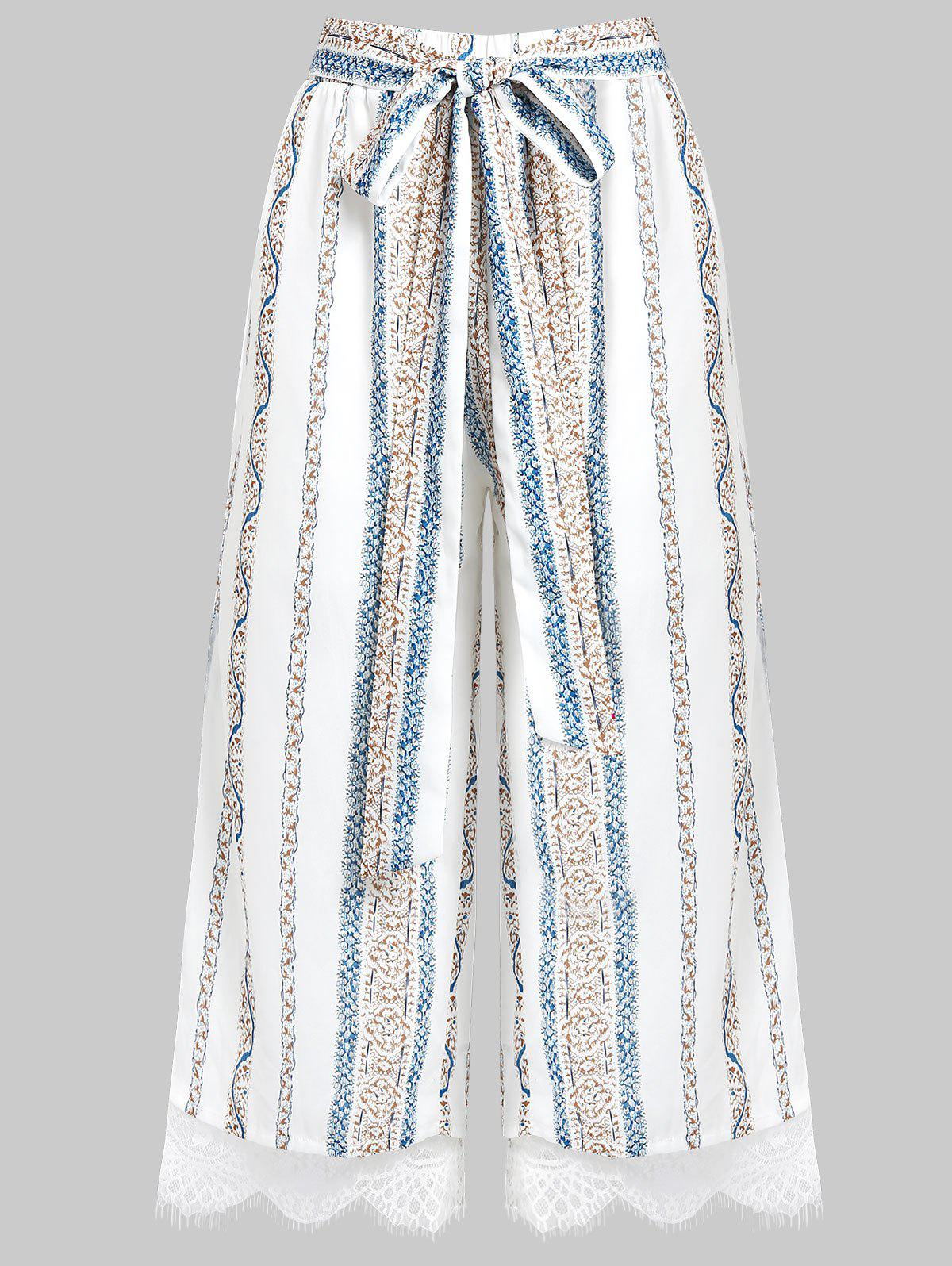 Outfit Striped Wide Leg Lace Insert Pants