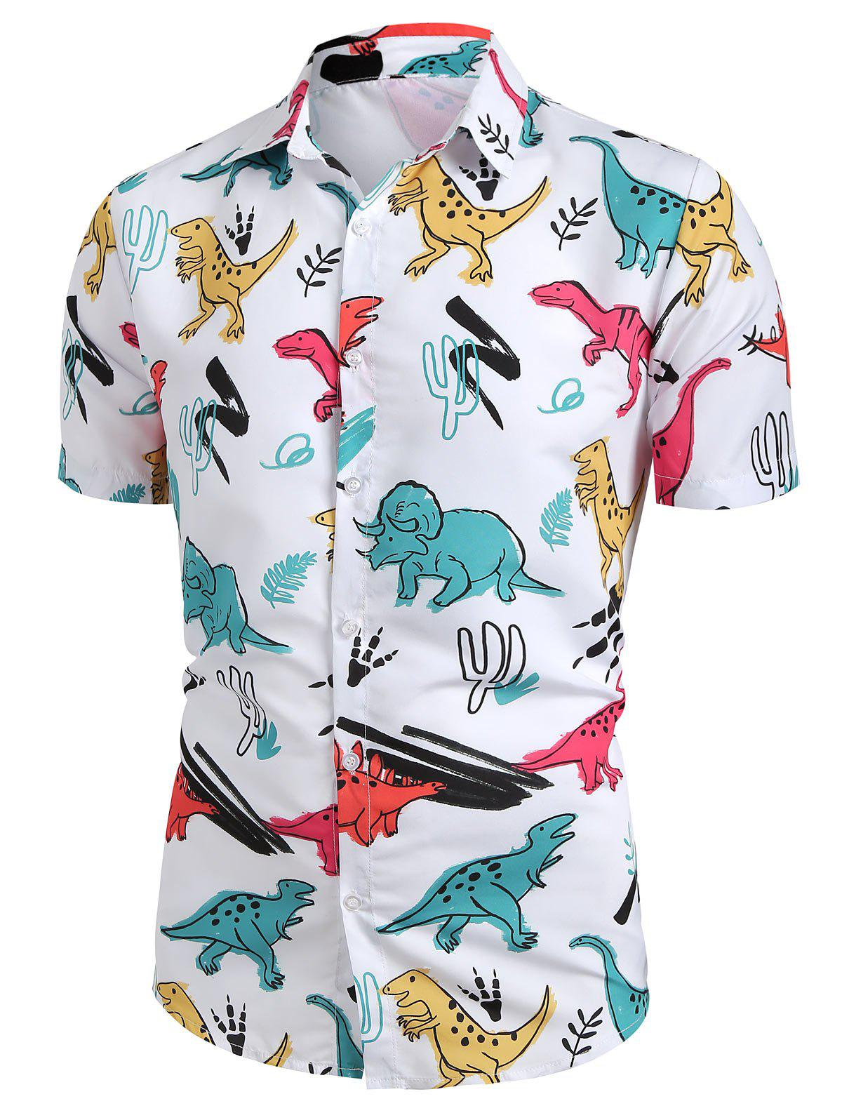 Online Cartoon Dinosaur Print Button Up Shirt