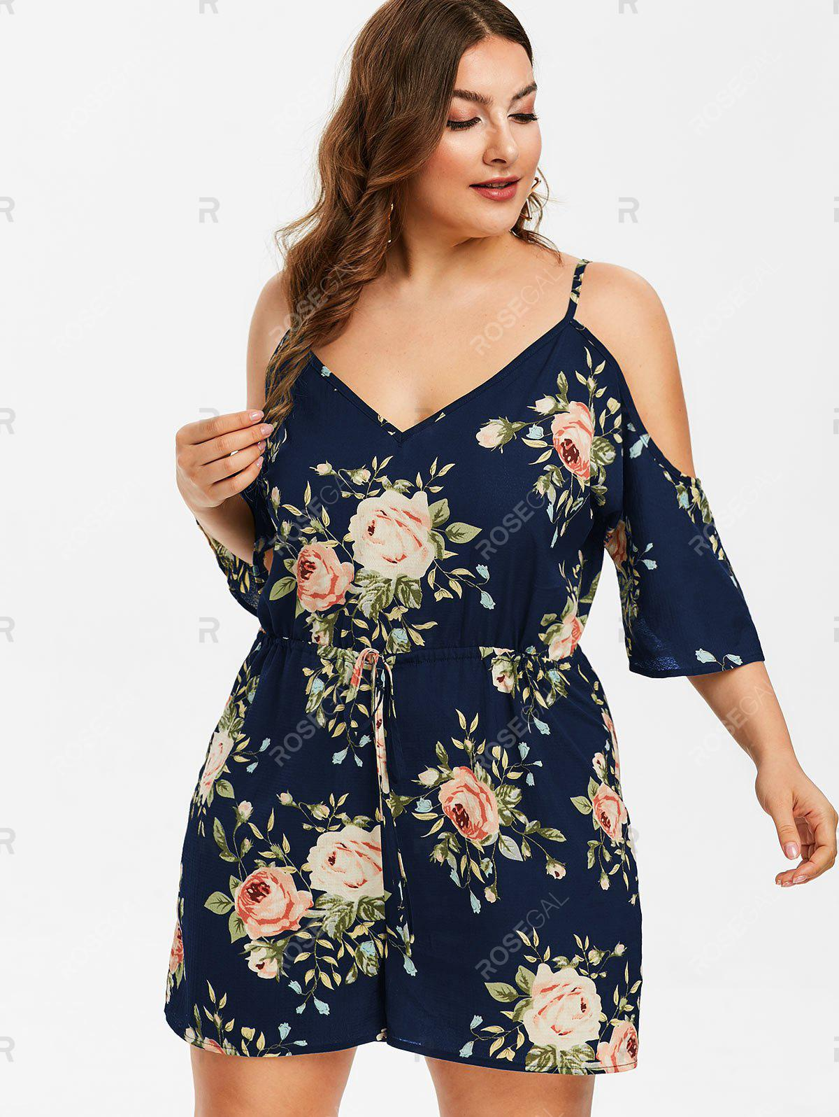 Plus Size Floral Cold Shoulder Romper - Plus Size Floral Cold Shoulder Romper - Plus Size Floral Cold Shoulder Romper - Plus Size Floral Cold Shoulder Romper - Outfits Plus Size Floral Cold Shoulder Romper Plus Size Floral Cold Shoulder Romper