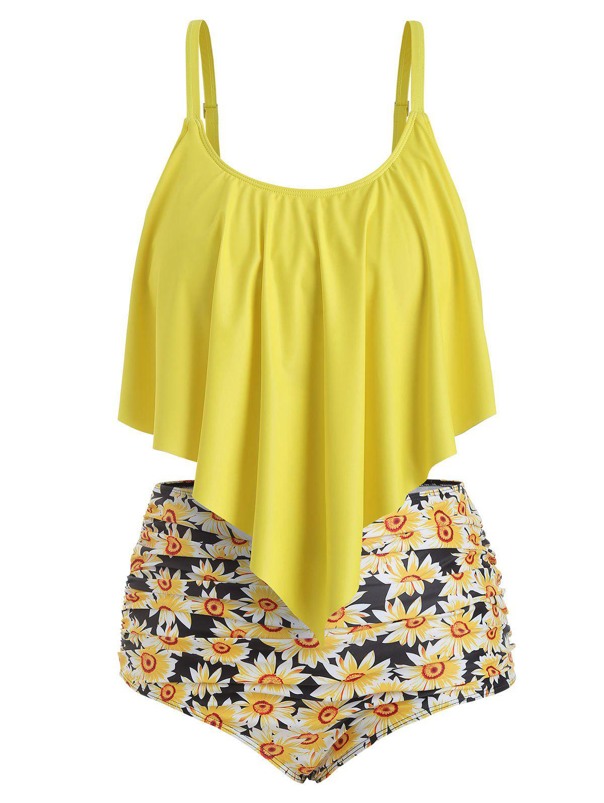 Shops Plus Size Overlay Sunflower Print Ruched Bikini Set