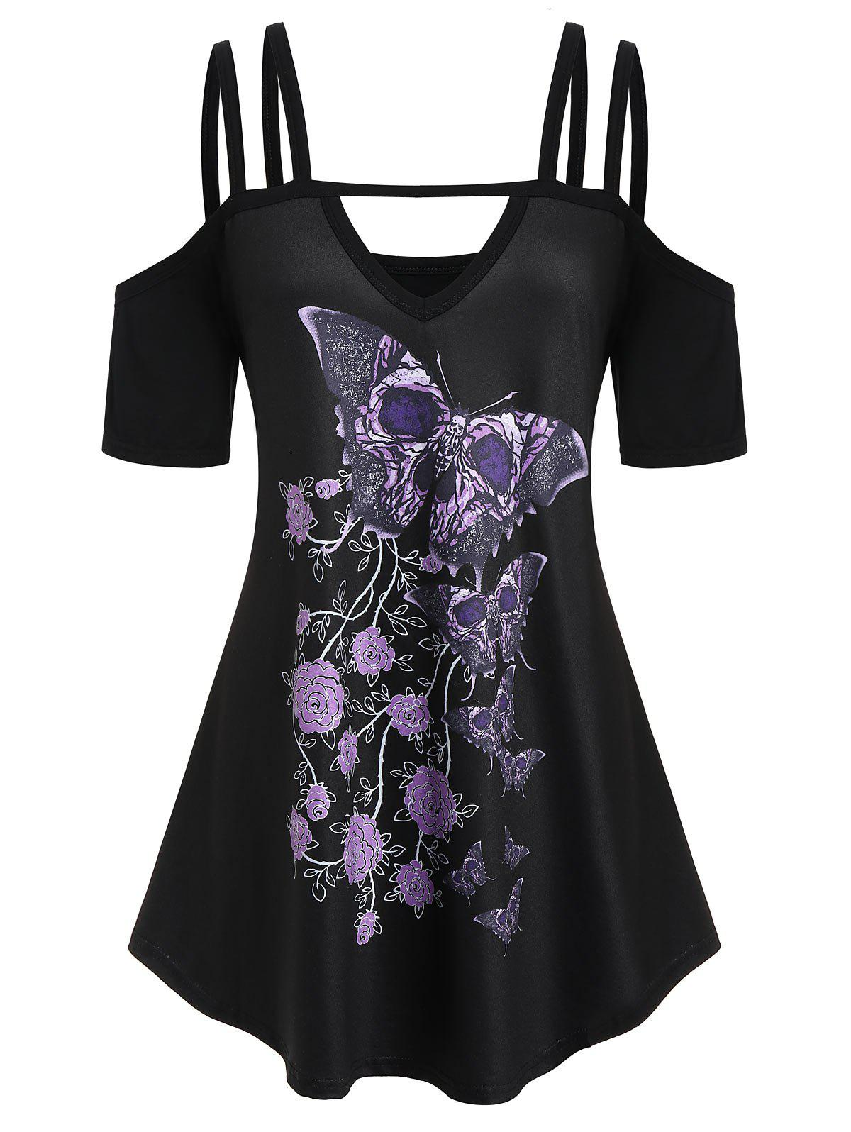 Chic Plus Size Cold Shoulder Butterfly Print T-shirt