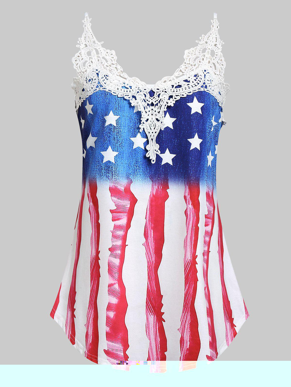 Fancy Plus Size American Flag Print Lace Insert Tank Top