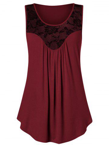Plus Size Lace Panel Flare Tank Top