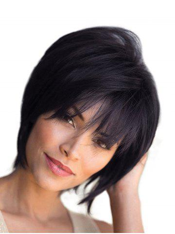 Free Part Short Straight Fluffy Human Hair Wig