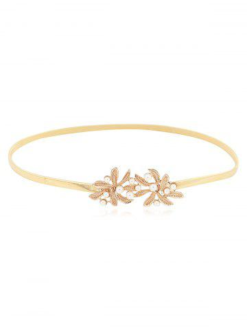 Floral Faux Pearl Chain Thin Belt