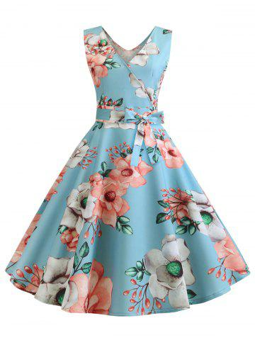 Floral Double V Sleeveless Dress