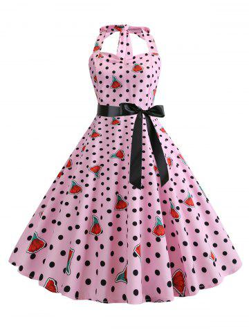 Polka Dot Floral Shirred Belted Dress