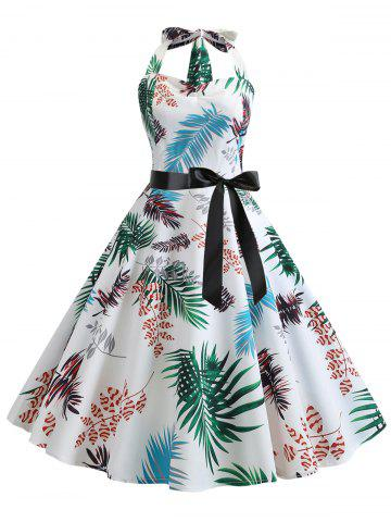 Leaf Print Halter Shirred Dress