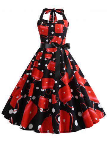 Polka Dot Bag Print Halter Shirred Dress